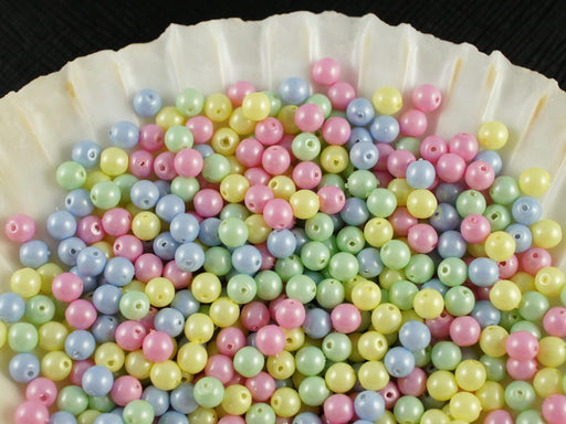 100 pcs Round Pearl Beads, 4mm, Baby Mix Pastel, Czech Glass