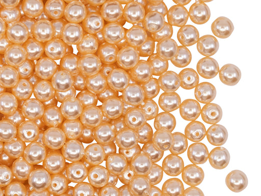 100 pcs Round Pearl Beads, 4mm, Light Beige Pearl, Czech Glass