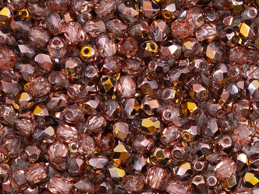 100 pcs Fire Polished Faceted Beads Round, 4mm, Apollo Gold (Crystal Capri Gold), Czech Glass