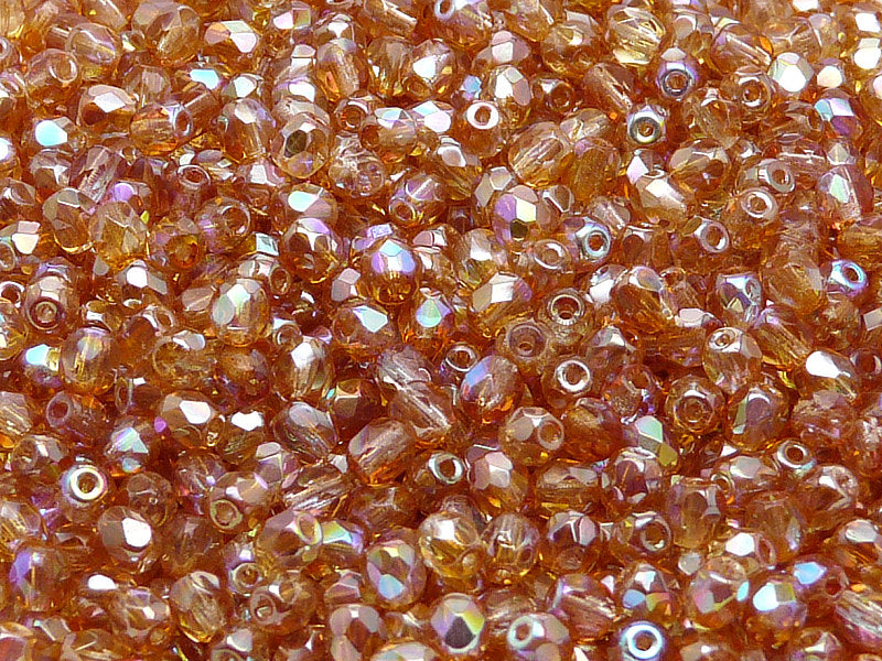 100 pcs Fire Polished Faceted Beads Round, 4mm, Crystal Orange Rainbow, Czech Glass