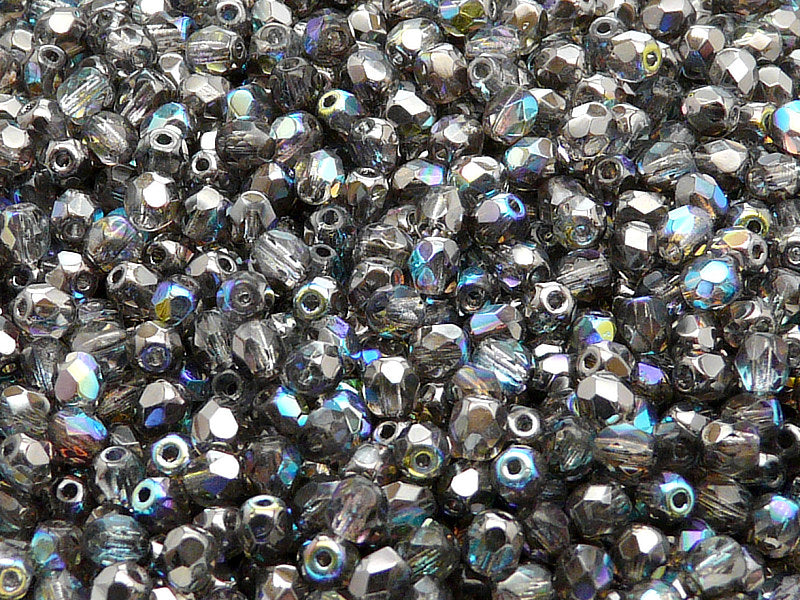 100 pcs Fire Polished Faceted Beads Round, 4mm, Crystal Graphite Rainbow, Czech Glass