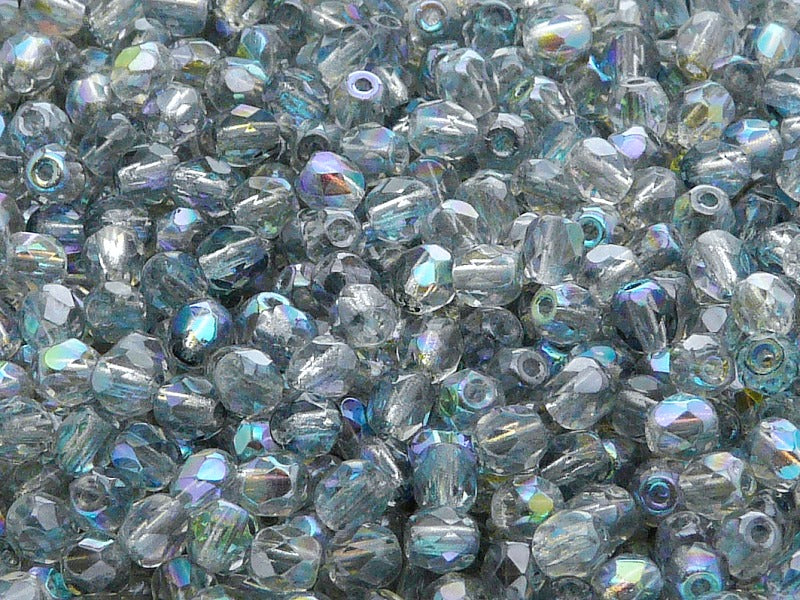 100 pcs Fire Polished Faceted Beads Round, 4mm, Crystal Blue Rainbow, Czech Glass