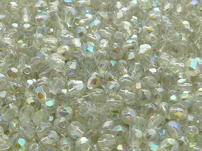 100 pcs Fire Polished Faceted Beads Round, 4mm, Crystal Green Rainbow, Czech Glass