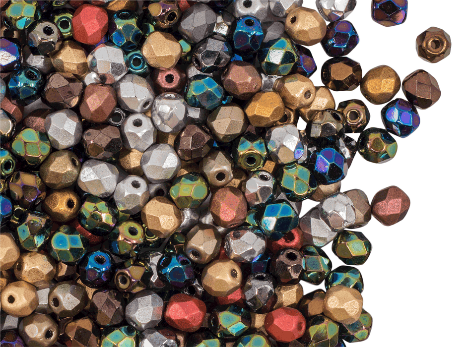 100 pcs Fire-Polished Faceted Beads Round 4mm, Czech Glass, Metal Mix