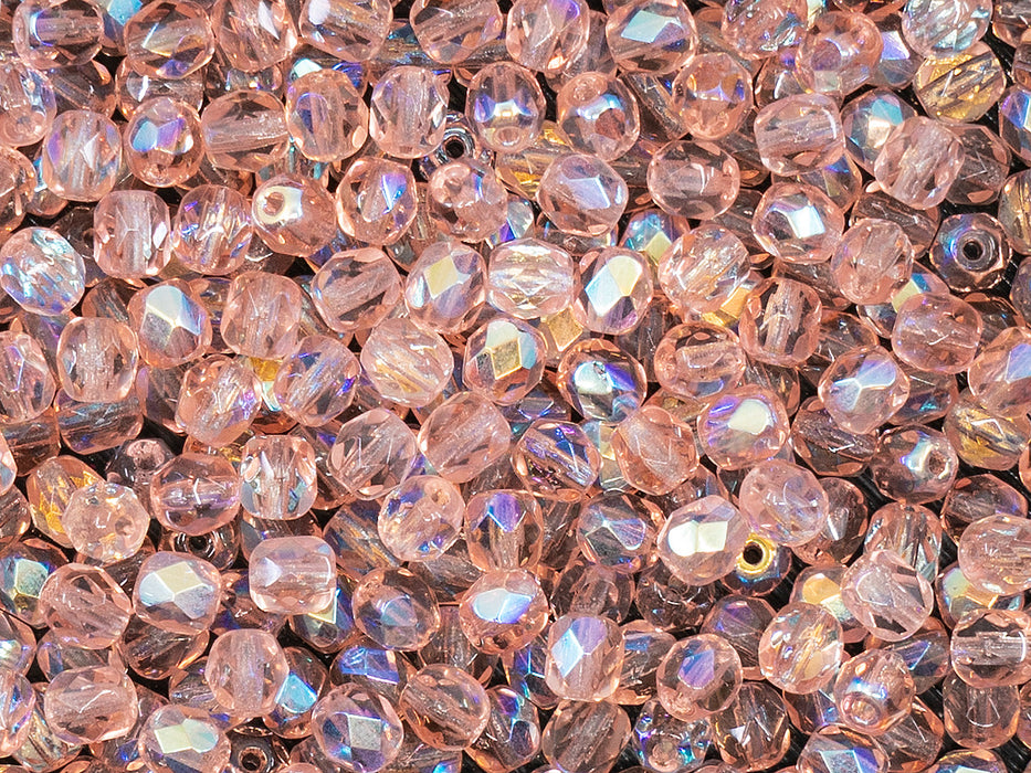 100 pcs Fire Polished Faceted Beads Round 4 mm, Rosaline AB, Czech Glass
