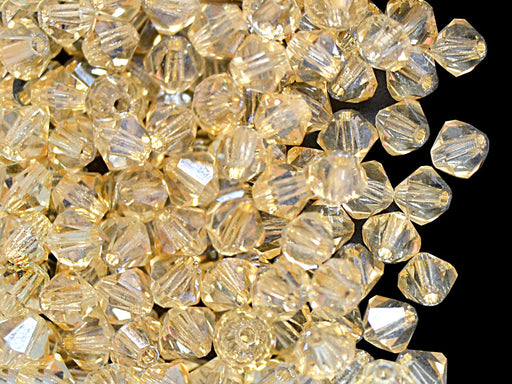 30 pcs MC Rondell Bicone Beads, 4mm, Crystal Orange Luster, Czech Glass
