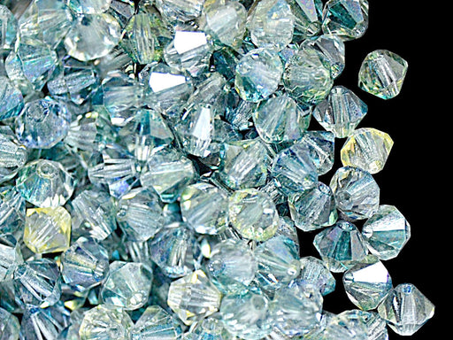 30 pcs MC Rondell Bicone Beads, 4mm, Crystal Oceanic, Czech Glass