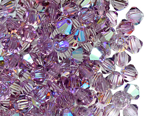 30 pcs MC Rondell Bicone Beads, 4mm, Light Amethyst AB, Czech Glass