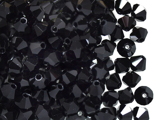 30 pcs MC Rondell Bicone Beads, 4mm, Jet Black, Czech Glass
