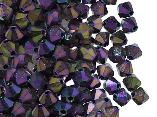 30 pcs MC Rondell Bicone Beads, 4mm, Jet Purple Iris, Czech Glass