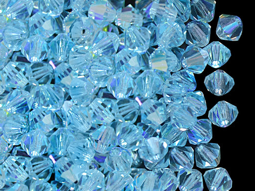 30 pcs MC Rondell Bicone Beads, 4mm, Light Aquamarine AB, Czech Glass