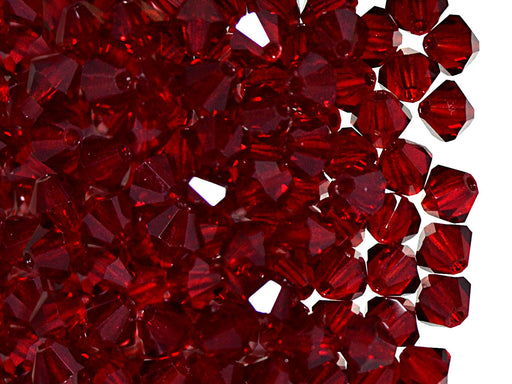30 pcs MC Rondell Bicone Beads, 4mm, Ruby, Czech Glass