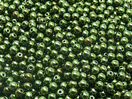 100 pcs Round Pressed Beads, 4mm, Dark Green Metallic, Czech Glass
