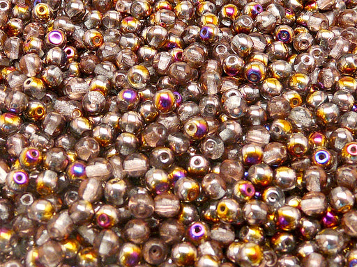 100 pcs Round Pressed Beads, 4mm, Crystal Sliperit, Czech Glass
