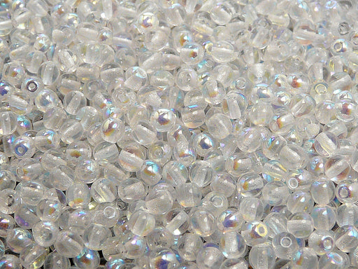 100 pcs Round Pressed Beads, 4mm, Crystal AB, Czech Glass