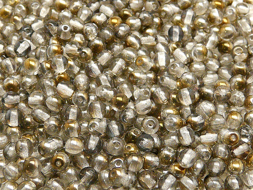 100 pcs Round Pressed Beads, 4mm, Crystal Valentinite, Czech Glass
