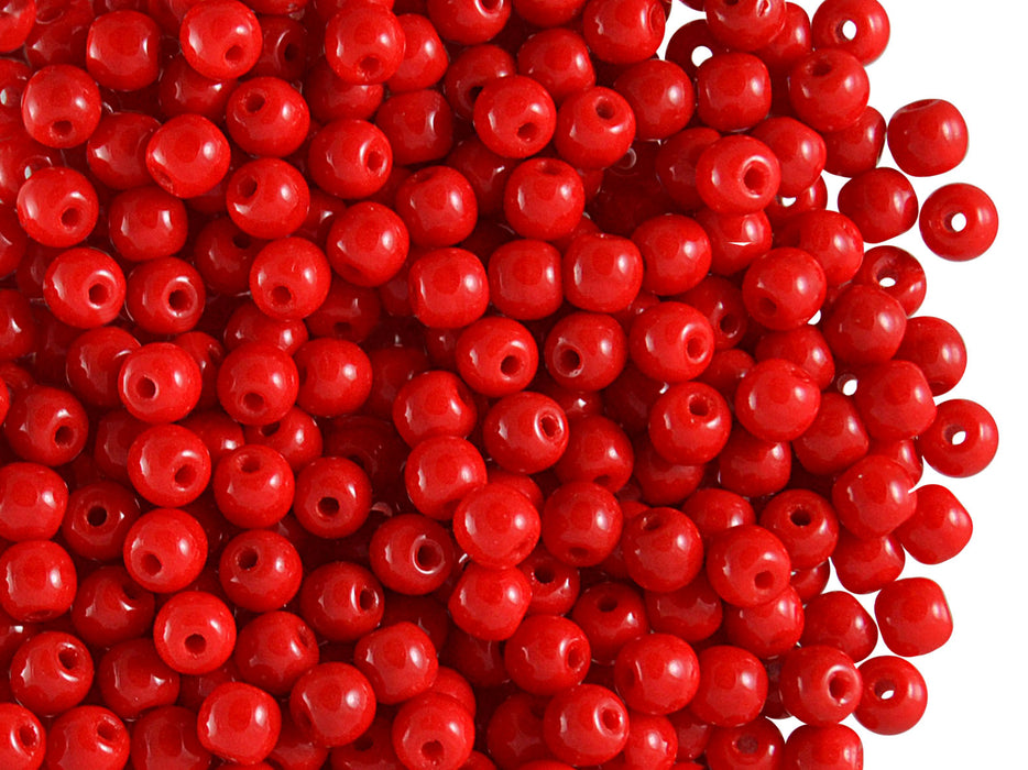100 pcs Round Pressed Beads, 4mm, Coral Red, Czech Glass