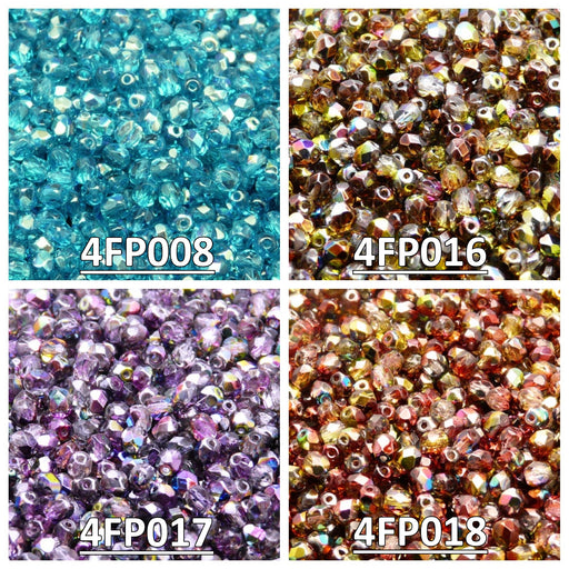 Set of Czech Fire-Polished Glass Beads Round 4mm - 4 colors (4FP008 4FP016 4FP017 4FP018)