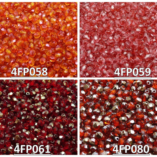 Set of Czech Fire-Polished Glass Beads Round 4mm - 4 colors (4FP058 4FP059 4FP061 4FP080)