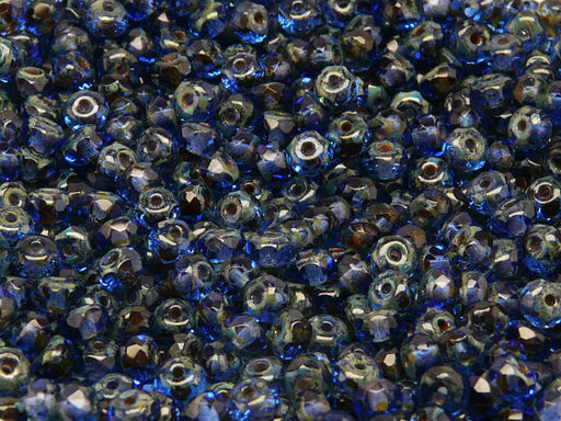 50 pcs Rondelle Fire Polished Faceted Beads, 5x3mm, Dark Sapphire Travertine, Czech Glass
