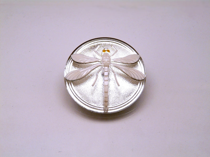 Czech Glass Cabochon Crystal with White Dragonfly (Smooth Reverse Side), Hand Painted, Size 8 (18mm)