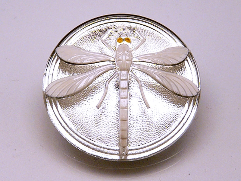 1 pc Czech Glass Cabochon Crystal with White Dragonfly (Smooth Reverse Side), Hand Painted, Size 18 (40.5mm)