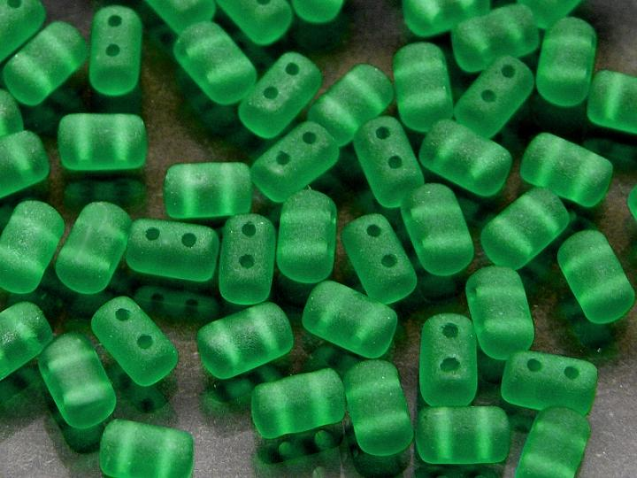 2-hole Rulla™ Seed Beads, 3x5mm, Emerald Matte, Czech Glass
