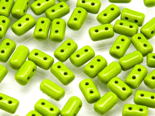 20 g 2-hole Rulla™ Seed Beads, 3x5mm, Opaque Green, Czech Glass