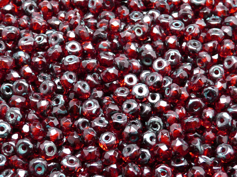 50 pcs Rondelle Fire Polished Faceted Beads, 5x3mm, Ruby Travertine Dark, Czech Glass
