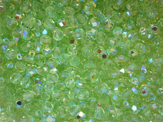 50 pcs Fire Polished Faceted Beads Round, 5mm, Light Green Peridot AB, Czech Glass