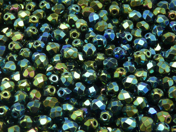 50 pcs Fire Polished Faceted Beads Round, 5mm, Jet Green Iris, Czech Glass