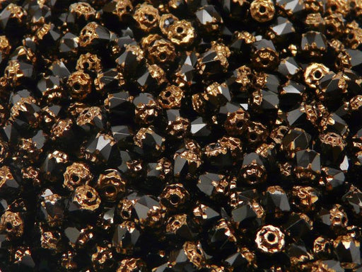 50 pcs Cathedral Fire Polished Faceted Beads, 5mm, Jet Black Bronze Ends, Czech Glass