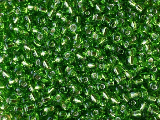 20 g 5/0 Seed Beads Preciosa Ornela, Green Silver Lined, Czech Glass