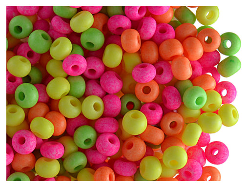 20 g 5/0 Seed Beads Preciosa Ornela, NEON Mix Opaque, Czech Glass