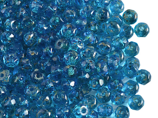 50 pcs Rondelle Fire Polished Faceted Beads, 5x3mm, Aquamarine Travertine, Czech Glass