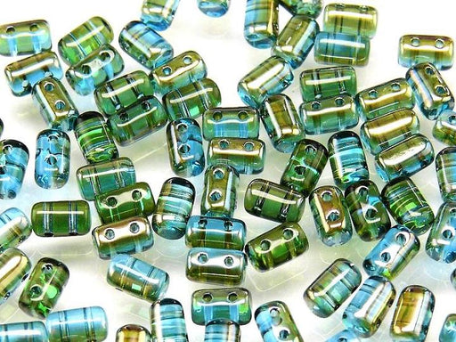 20 g 2-hole Rulla™ Seed Beads, 3x5mm, Aqua Celsian, Czech Glass