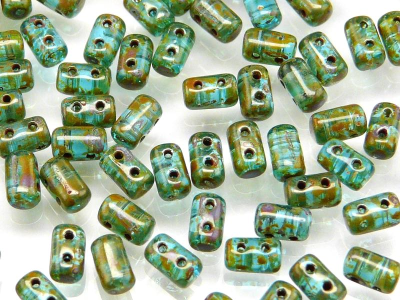 20 g 2-hole Rulla™ Seed Beads, 3x5mm, Aquamarine Travertine, Czech Glass