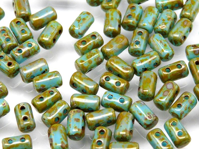 20 g 2-hole Rulla™ Seed Beads, 3x5mm, Opaque Turquoise Blue Travertine Dark, Czech Glass
