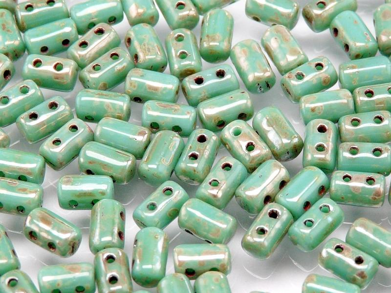 2-hole Rulla™ Seed Beads, 3x5mm, Opaque Turquoise Green Picasso, Czech Glass