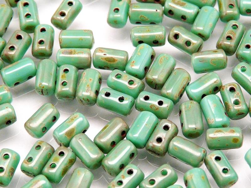 20 g 2-hole Rulla™ Seed Beads, 3x5mm, Opaque Turquoise Green Travertine Dark, Czech Glass