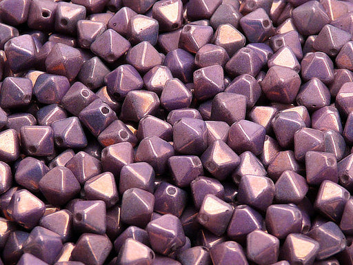 30 pcs Bicone Lantern Pressed Beads, 6x5mm, Mix Amethyst Gold Ceramic Look, Czech Glass