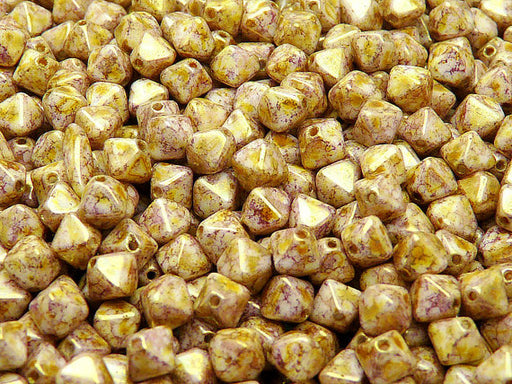 30 pcs Bicone Lantern Pressed Beads, 6x5mm, Chalk White Violet Senegal, Czech Glass
