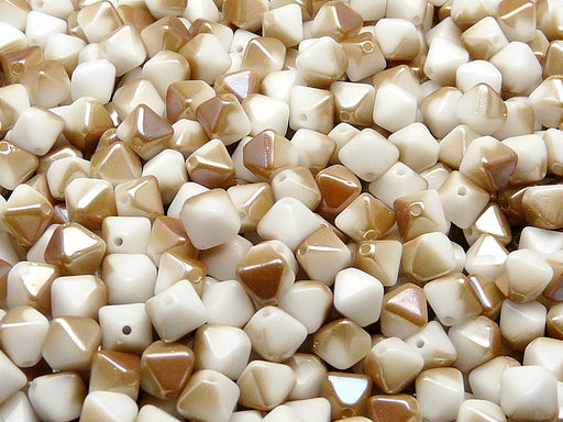30 pcs Bicone Lantern Pressed Beads, 6x5mm, Chalk White Celsian, Czech Glass
