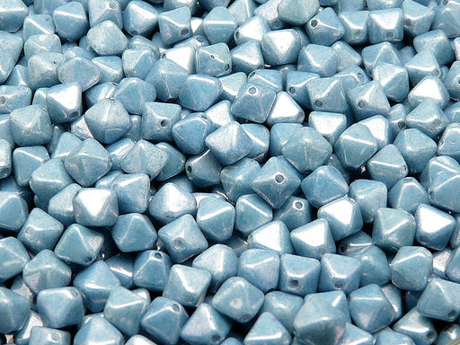 30 pcs Bicone Lantern Pressed Beads, 6x5mm, Chalk Blue Luster, Czech Glass