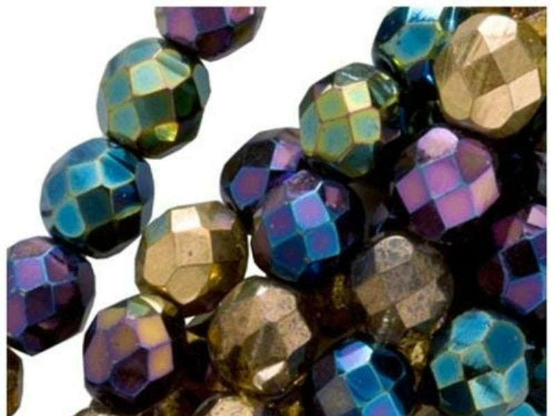 50 pcs Fire Polished Faceted Beads Round, 6mm, Iris Rainbow (Heavy Metal Mix), Czech Glass