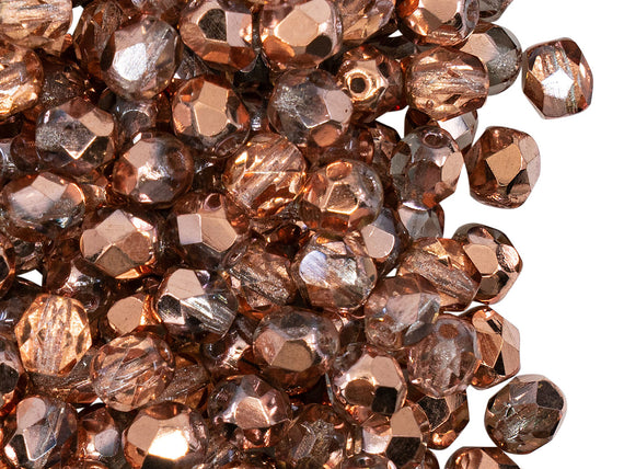 50 pcs Fire Polished Faceted Beads Round, 6mm, Apollo Gold (Crystal Capri Gold), Czech Glass