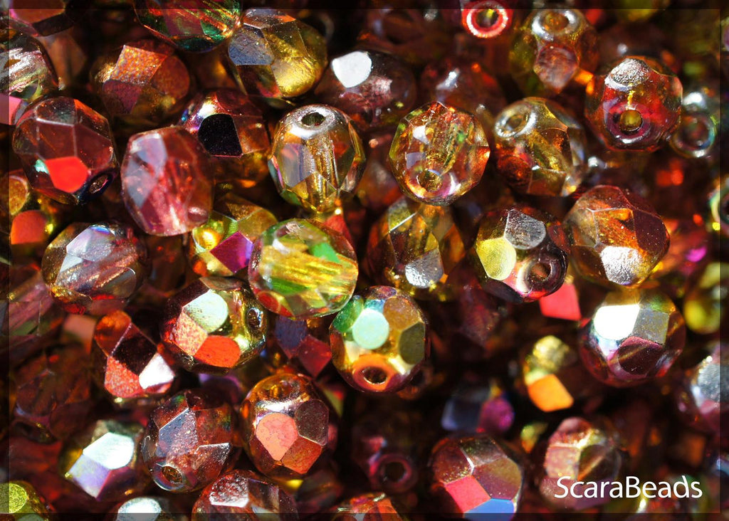 Fire Polished Faceted Beads Round, 6mm, Magic Red Yellow, Czech Glass
