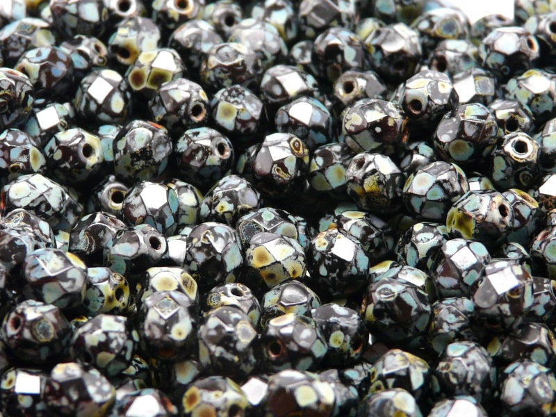 50 pcs Fire Polished Faceted Beads Round, 6mm, Jet Travertine, Czech Glass