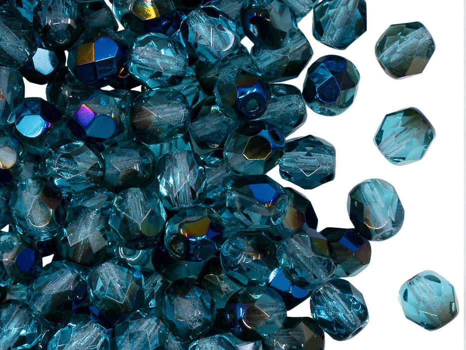 50 pcs Fire Polished Faceted Beads Round, 6mm, Aquamarine Azuro, Czech Glass