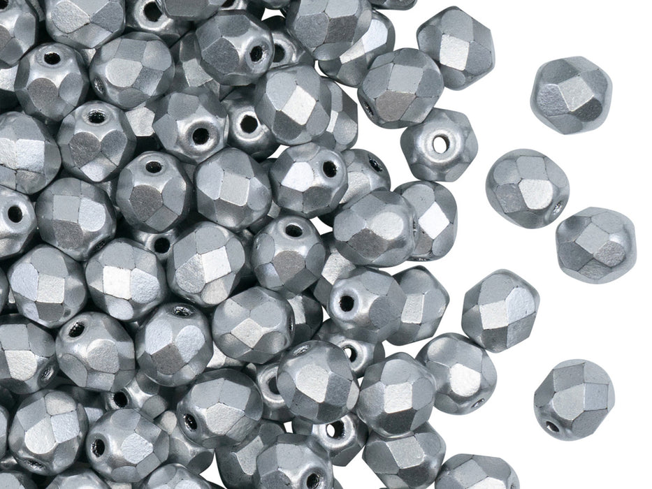 50 pcs Fire Polished Faceted Beads Round, 6mm, Crystal Bronze Aluminum (Silver Matte), Czech Glass